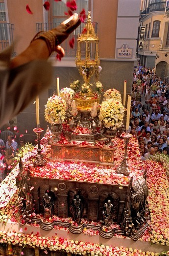 Corpus Christi procession, Custodia ostensorium, in calle Mesones, Granada, Andalucia, Spain : Stock Photo