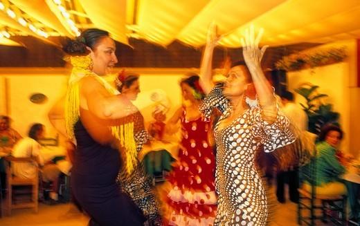 Stock Photo: 1566-766188 Feria of Granada Fair,dancing sevillanas, Granada, Andalucia, Spain