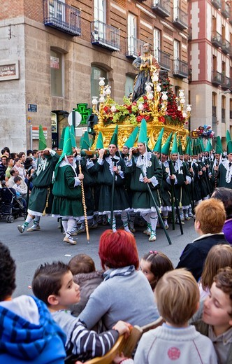Penitents Palm Sunday processionCofradia del Santisimo Cristo de la Esperanza Holy Week  Murcia  Spain : Stock Photo