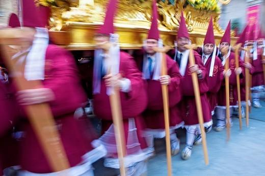 Easter Monday procession Cofradia del Santísimo Cristo del Perdón Holy Week  Murcia  Spain : Stock Photo