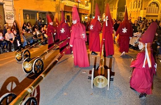 'Bocinas' Easter Monday procession Cofradia del Santísimo Cristo del Perdón Holy Week  Murcia  Spain : Stock Photo