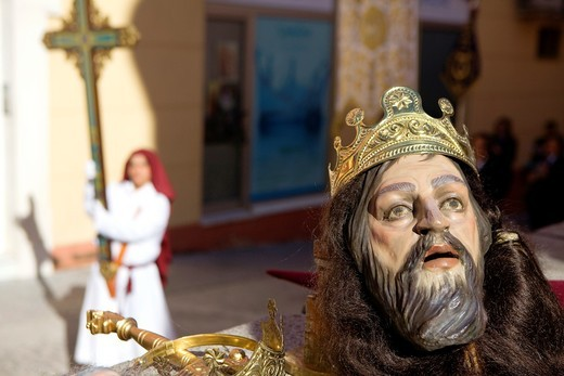 Stock Photo: 1566-766215 Mask of 'figura' and penitent Holy Week  Easter Sunday Puente Genil  Córdoba province  Spain