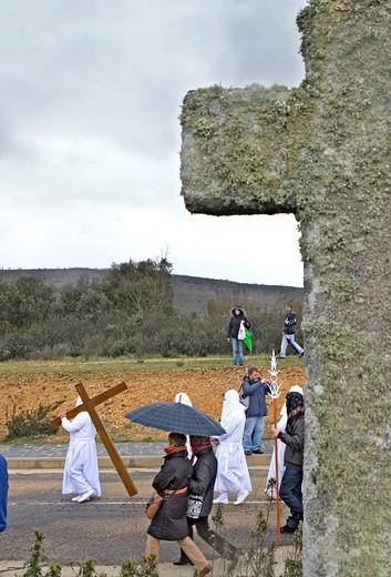 Good Friday procession, Bercianos de Aliste, Province Zamora, Castilla Leon, Spain : Stock Photo