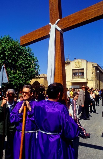´Los Picaos´,Holy Week procession  Cofradia de la Santa Vera Cruz de los disciplinantes  San Vicente de la Sonsierra, La Rioja, Spain : Stock Photo