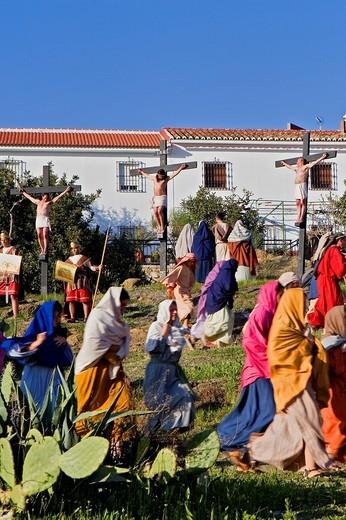 Live Holy week ´pasión´ at Riogordo  Málaga province  Andalucia  Spain : Stock Photo