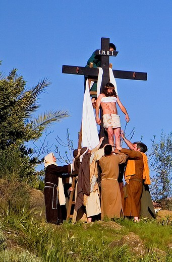 Live Holy week ´pasión´ at Riogordo  Málaga province  Andalucia  Spain : Stock Photo