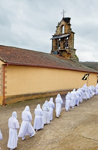 Church of Bercianos de Aliste Good Friday procession, Bercianos de Aliste, Province Zamora, Castilla Leon, Spain : Stock Photo