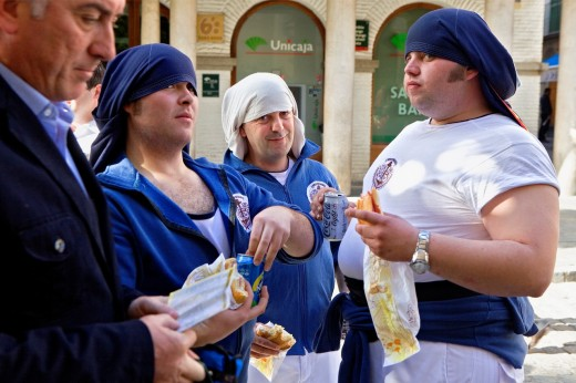 'Costaleros' penitents-carriers  Holy Week  Seville  Spain : Stock Photo