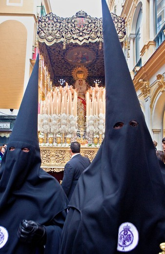 Penitents Holy Week procession 'La Sed' Holy Wednesday  Seville  Spain : Stock Photo