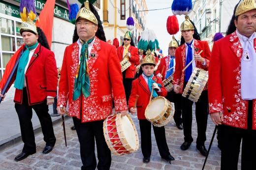 Stock Photo: 1566-766260 Judios colinegros Black-tailed Jews  Holy Week procession Baena  Córdoba province  Spain