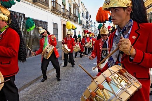 Judios colinegros Black-tailed Jews  Holy Week procession Baena  Córdoba province  Spain : Stock Photo