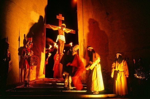 Stock Photo: 1566-766277 jesus christ crucified  Dance of Death  Holy Week procession  Verges, Girona, Spain