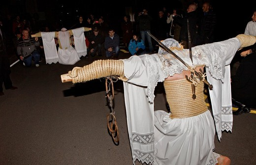 'Empalaos' impaleds kneeling  Holy Week in Valverde de la Vera  Caceres province, Extremadura, Spain : Stock Photo