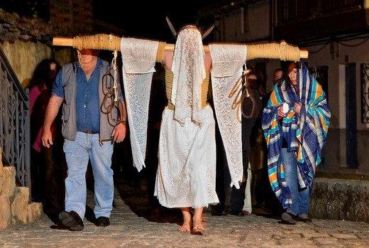 Stock Photo: 1566-766286 ´Empalaos´ impaleds, Holy Week in Valverde de la Vera  Empalao and family Caceres province, Extremadura, Spain