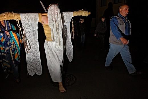 Stock Photo: 1566-766289 ´Empalaos´ impaleds, Holy Week in Valverde de la Vera  Empalao and family Caceres province, Extremadura, Spain