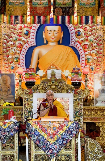 Stock Photo: 1566-766328 His holiness the Dalai Lama during teachings at Namgyal Monastery,in Tsuglagkhang complex  McLeod Ganj, Dharamsala, Himachal Pradesh state, India, Asia