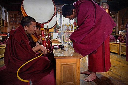 Stock Photo: 1566-766391 Drinking chai,Puja,Monks praying, in Dip Tse Chok Ling Monastery McLeod Ganj, Dharamsala, Himachal Pradesh state, India, Asia