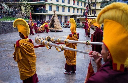 Stock Photo: 1566-766405 Ritual to burning evil at Losar new year, in Namgyal Monastery,in Tsuglagkhang complex  McLeod Ganj, Dharamsala, Himachal Pradesh state, India, Asia