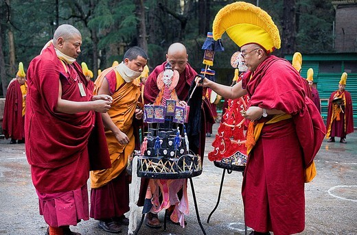 Ritual to burning evil at Losar new year, in Namgyal Monastery,in Tsuglagkhang complex  McLeod Ganj, Dharamsala, Himachal Pradesh state, India, Asia : Stock Photo