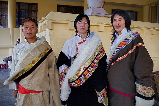 Stock Photo: 1566-766438 Tibetan wearing typical dress , in Namgyal Monastery,in Tsuglagkhang complex  McLeod Ganj, Dharamsala, Himachal Pradesh state, India, Asia