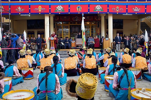 Stock Photo: 1566-766486 His holiness the Dalai Lama speaking about the situation of the Tibetan people in exile, in Namgyal Monastery,Tsuglagkhang complex  McLeod Ganj, Dharamsala, Himachal Pradesh state, India, Asia