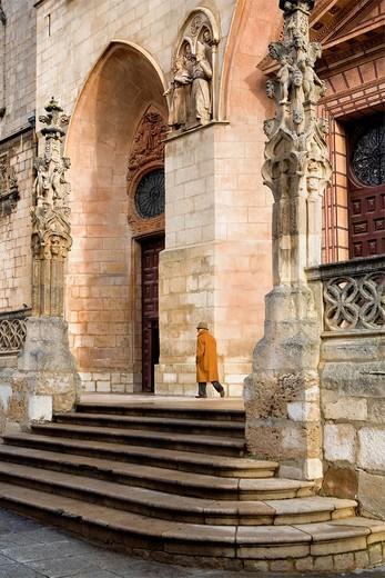 Stock Photo: 1566-766523 Cathedral, Detail of main facade  Burgos  Castilla-Leon, Spain  Camino de Santiago