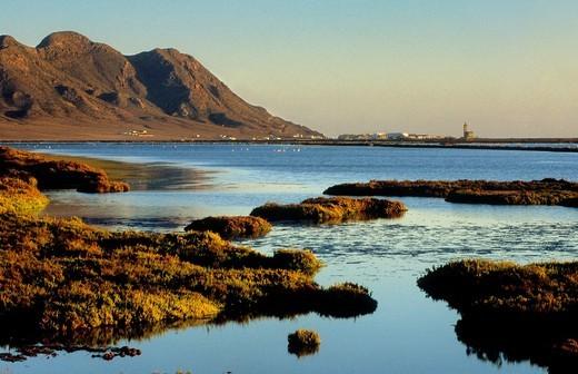Almadraba de Montelba saltworks Cabo de Gata-Nijar Natural Park  Biosphere Reserve, Almeria province, Andalucia, Spain : Stock Photo