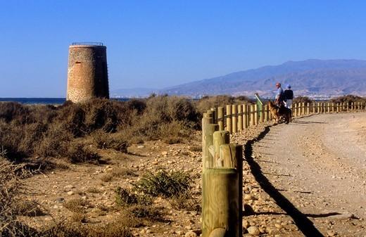 Stock Photo: 1566-766542 Torre García In Torre García beach Cabo de Gata-Nijar Natural Park  Biosphere Reserve, Almeria province, Andalucia, Spain