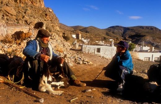 Herdsman and his grandson  Huebro, Almeria province, Andalucia, Spain : Stock Photo