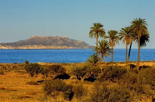 Stock Photo: 1566-766562 'El Playazo' In background 'Mesa de Roldan' Cabo de Gata-Nijar Natural Park  Biosphere Reserve, Almeria province, Andalucia, Spain