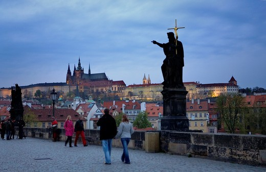 Prague Castle from Charles bridge Prague  Czech Republic : Stock Photo