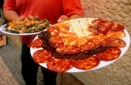 Stock Photo: 1566-766642 Gastronomy of Almeria  Assortment of sausages and fried fish In Bodega las Botas Fructuoso Perez, 3  Almeria  Andalucia, Spain
