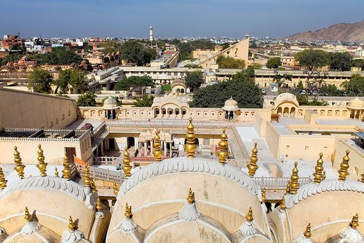 Hawa Mahal Palace of Winds and skyline of the city  Jaipur  Rajasthan, India : Stock Photo