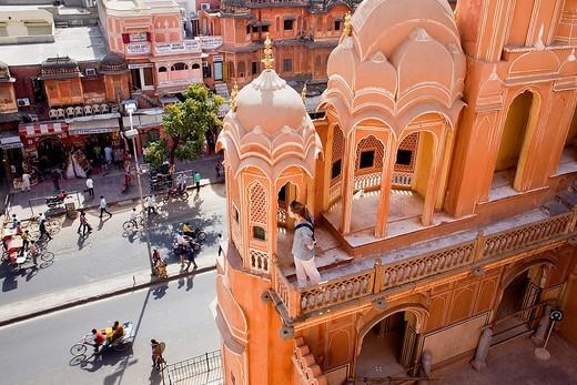 Siredeori Bazaar, from Hawa Mahal Palace of Winds  Jaipur  Rajasthan, India : Stock Photo
