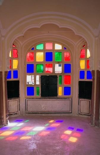 Stock Photo: 1566-766671 Interior of Hawa Mahal Palace of Winds  Jaipur  Rajasthan, India