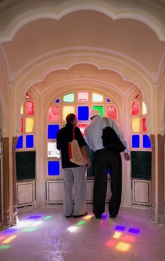 Interior of Hawa Mahal Palace of Winds  Jaipur  Rajasthan, India : Stock Photo
