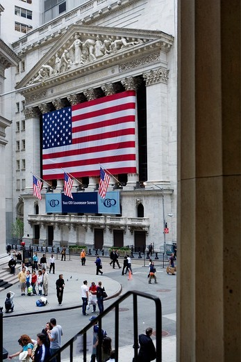 Stock Photo: 1566-766783 Financial District  new york stock exchange  Wall St at Broad St,New York City, USA