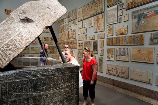 The MET, Metropolitan Museum of Art  Egyptian galleries  Left, Sarcophagus of Wennefer,New York City, USA : Stock Photo