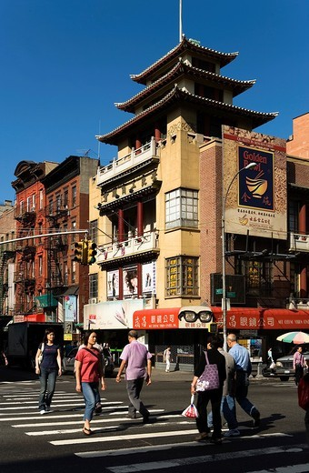 Stock Photo: 1566-766849 Chinatown  Mott St at Canal St,New York City, USA
