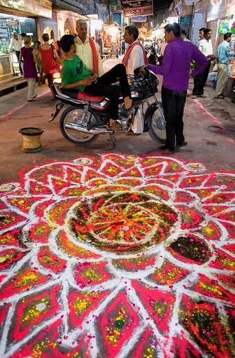 Rangoli,Gangaur festival,pushkar, Rajasthan, india : Stock Photo