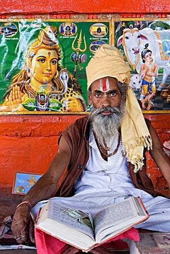 Stock Photo: 1566-767039 Sadhu holy man,near Brahma temple,pushkar, rajasthan, india