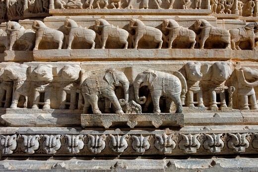 Detail,relief on the exterior wall of the Jagdish Temple,Udaipur, Rajasthan, india : Stock Photo