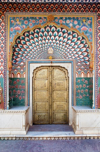 Summer door, in Courtyard of Pitam Niwas Chowk,City Palace,Jaipur, Rajasthan, India : Stock Photo