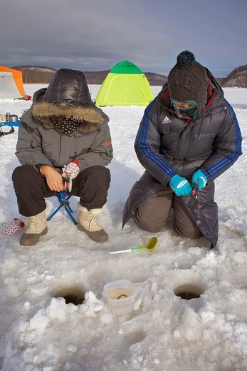 Stock Photo: 1566-767191 Ice fishing,Abasiri lake,Abashiri, Hokkaido, Japan