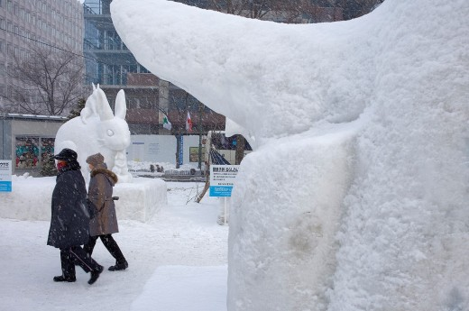 Visitors,Sapporo snow festival,snow sculptures,Odori Park, Sapporo, Hokkaido, Japan : Stock Photo