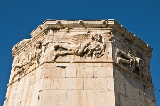 Stock Photo: 1566-767618 Detail of the Tower of the winds in the Roman forum, Plaka district of Athens, Greece