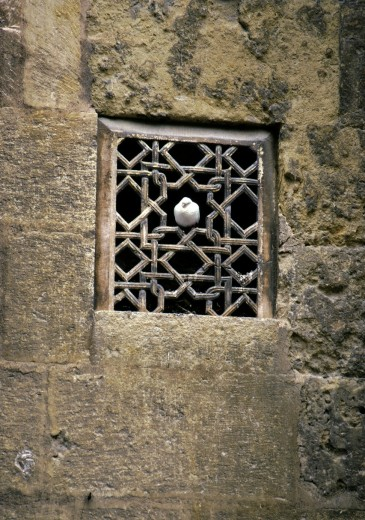 A carved stone window grill in the Great Mosque, La Mezquita, in Cordoba, Spain : Stock Photo