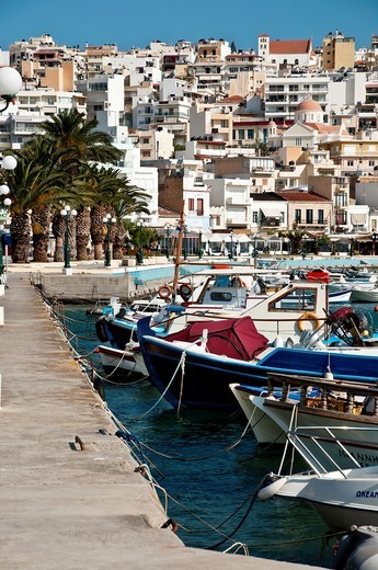 Looking across the harbour at Sitia in north eastern Crete, Greece : Stock Photo