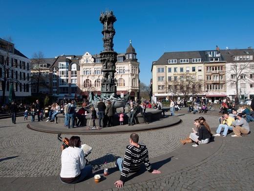 Many people in Josef Gorres Platz in Koblenz Germany : Stock Photo