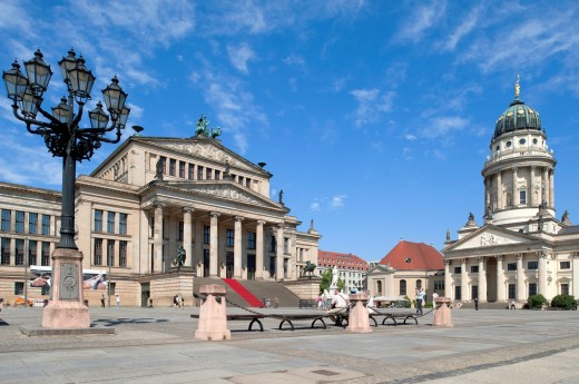 View of Gendarmenmarkt square and Konserthaus and Franzosischer Dom in Mitte district of Berlin Germany : Stock Photo